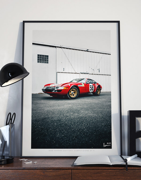 Ferrari Daytona Print, Vintage Motorsport Wall Art and Decor Ideas