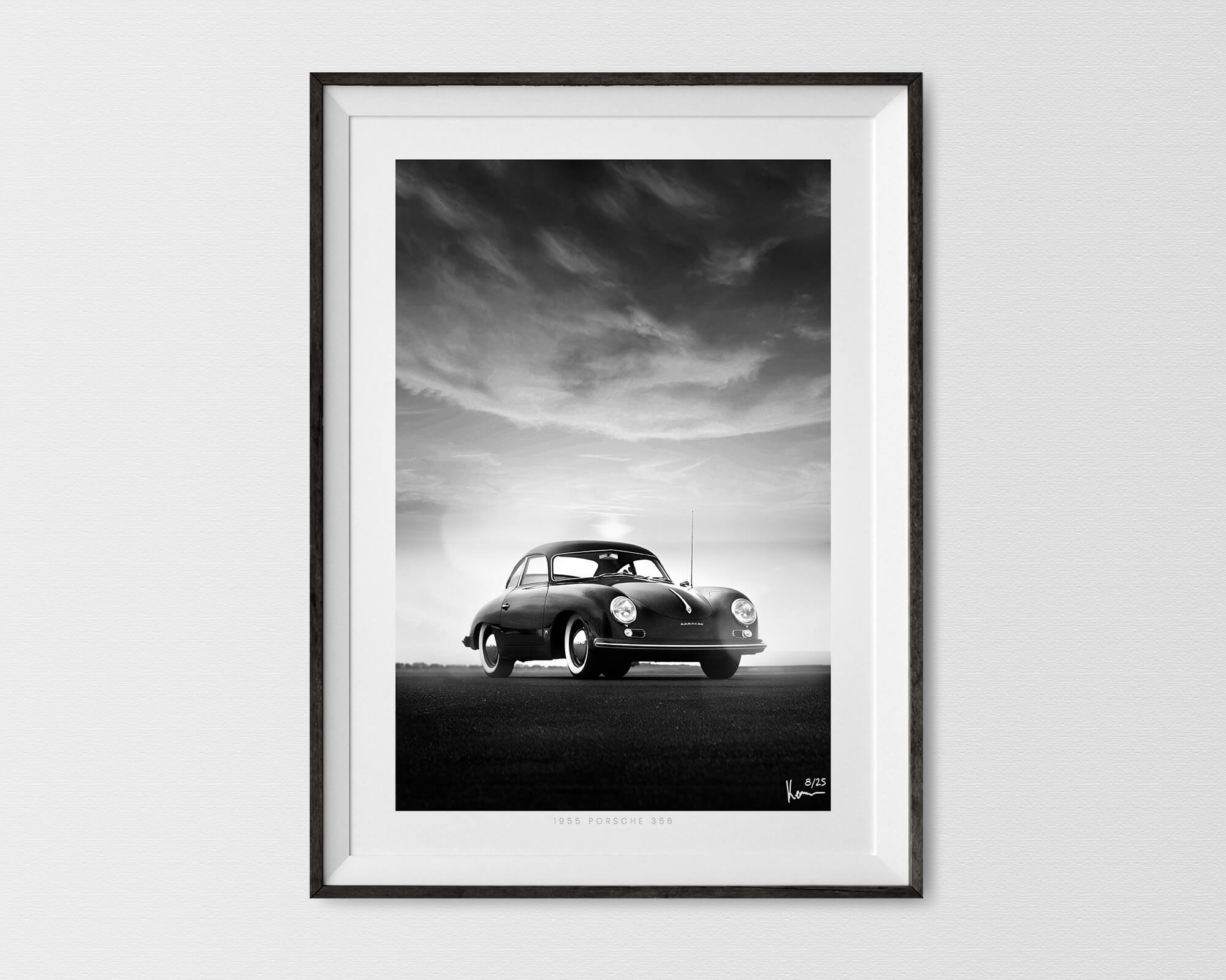 Porsche 356 Print Black And White Signed Limited Automotive Wall Art