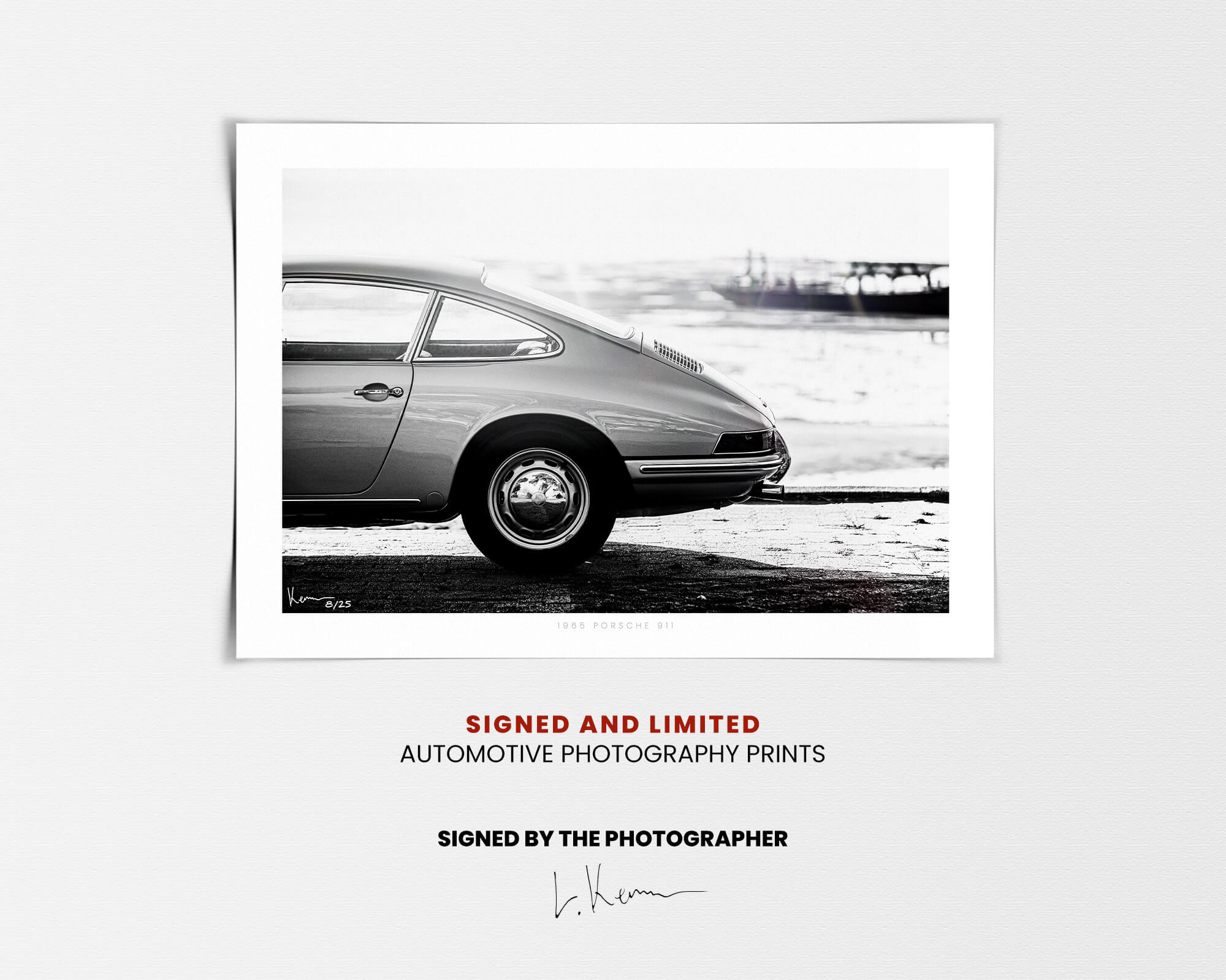 Porsche 911 Wall Art In Black And White Signed Limited Fine Art Print